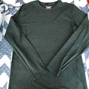 Men's green oatmeal color long sleeve shirt